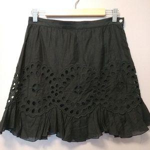 Embroidered black eyelet skirt